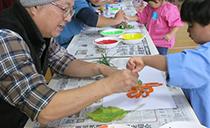 鳥取県倉吉市の倉吉幼稚園にて「枯葉のアート」のWSを開催